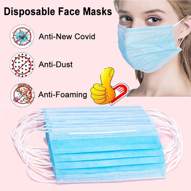 10/20/50/100pcs Non-woven Disposable Mouth Face Mask Respirator Mascarilla Coronavirus PM2.5 Anti-Dust Anti-haze Bacteria Mask