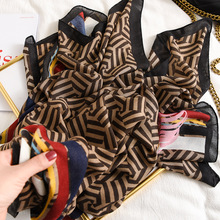 Moda Gradient paski linia Fringe wiskoza szalik kobiety wysokiej jakości Printe Pashmina Stole Bufandas muzułmański hidżab 180*90Cm