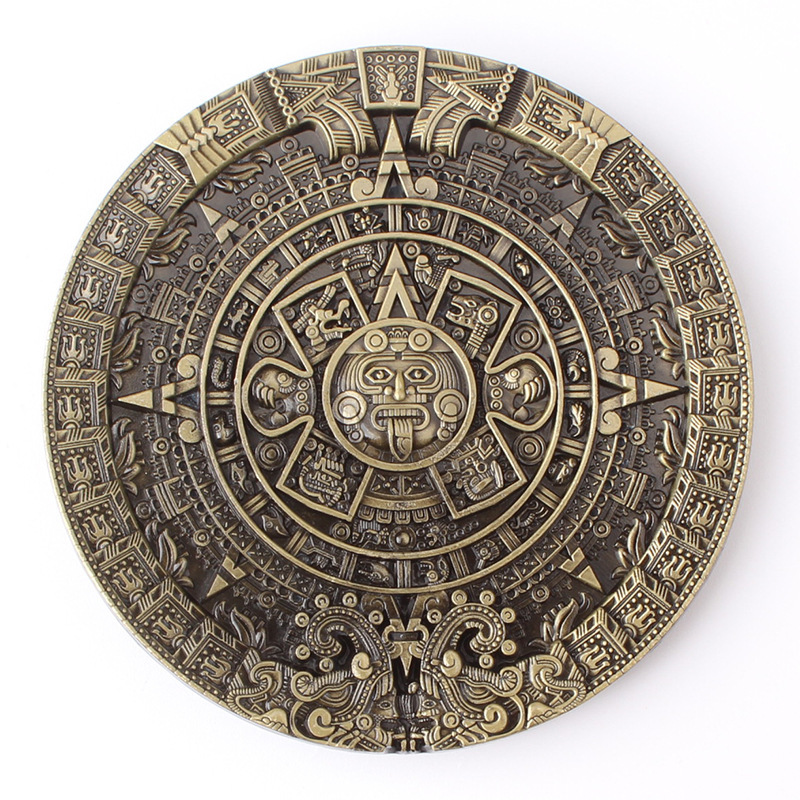 Aztec Solar Calendar Belt Buckle Mysterious Ancient Mayan Civilization Pattern