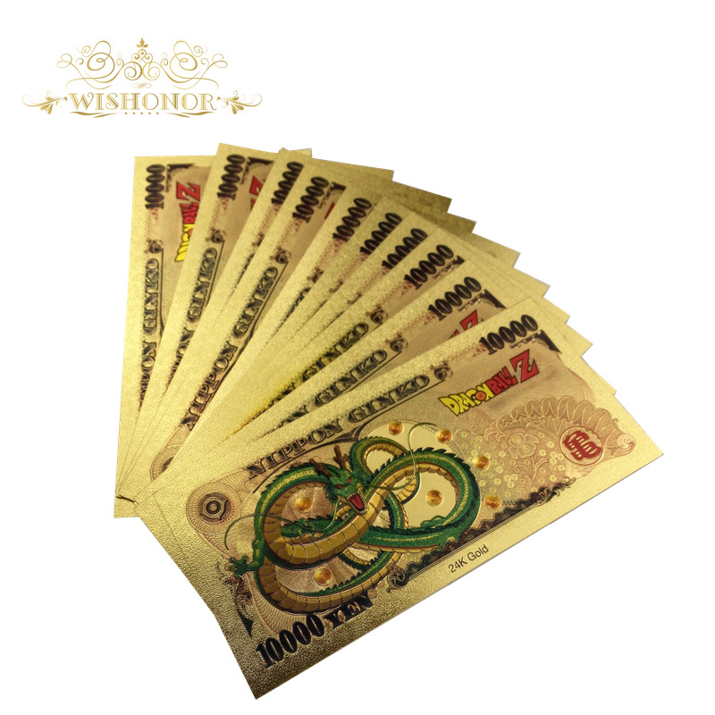 10Pcs//Lot Gold Banknote 10000 Yen 99.9/% Gold Plated Fake Money For Collection