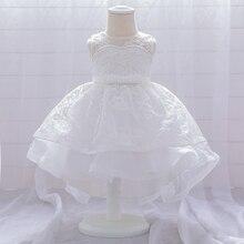 Детские трейлинг-белое платье для маленьких девочек платья для крестин платья крещение новорожденных одежда принцессы с кружевом и 1st год п...