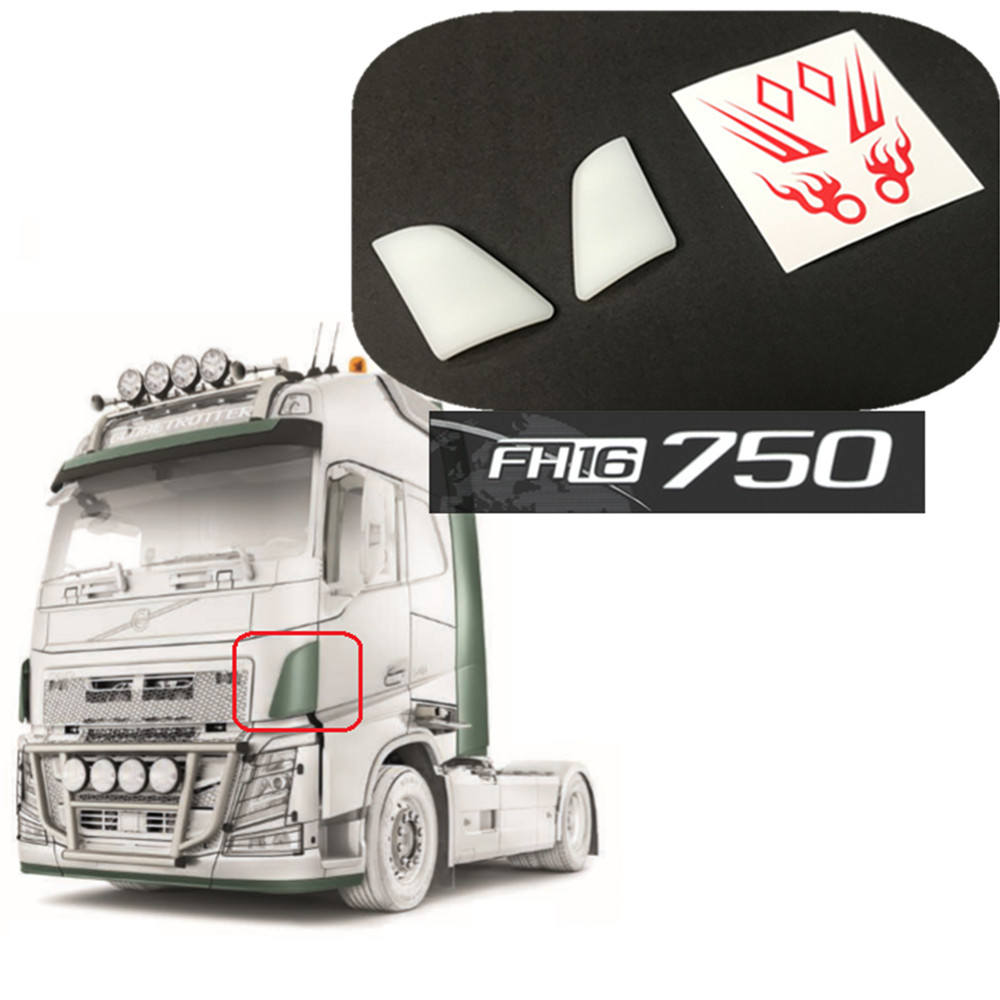 Car Body Front Spoiler with Flame Decals for <font><b>1/14</b></font> <font><b>Tamiya</b></font> Volvo FH16 750 <font><b>RC</b></font> <font><b>Truck</b></font> Tractor Accessories image