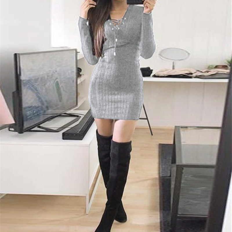 Nice Women Knitted Lace Up Sweater Dress Sexy Club Party Bodycon Dress V Neck Long Sleeve Mini Dresses - 5