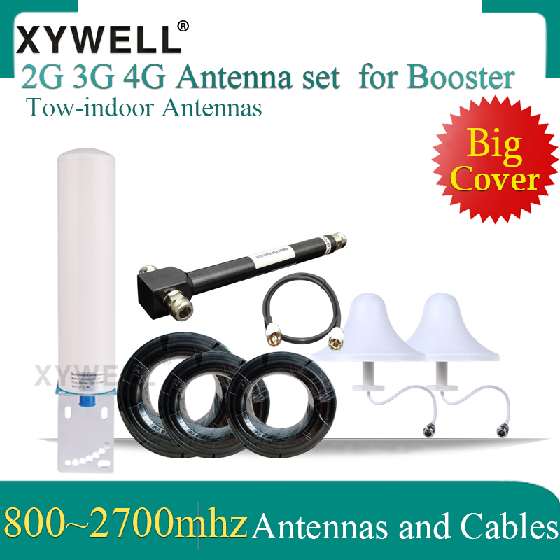 Big Cover 2G 3G 4G Omni Antennas Set 800-2700mhz Gsm Antenna Lte 4g Antenna Cables For 3G 4G GSM Mobile Signal Booster Repeater