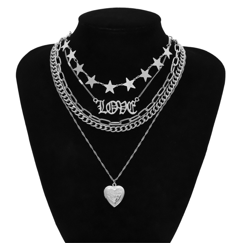 Hc002793f19fb4868b0ba0e5dc6f11146I - Multi layer Punk chain with heart stars for women men padlock love pendant necklace statement gothic cool fashion jewelry