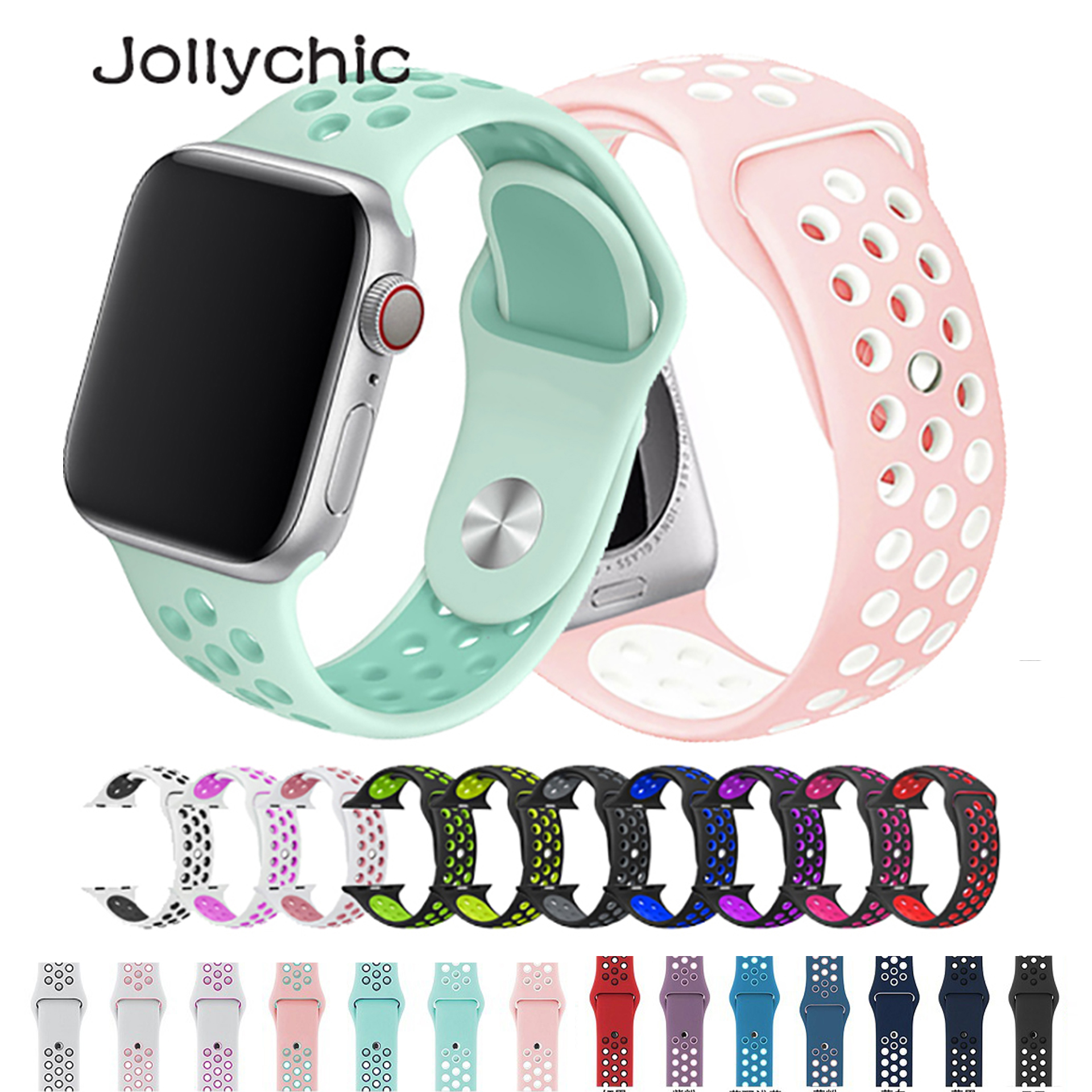 Strap For Apple Watch 4 3 2 1 Band 38mm 40mm Silicone Bracelet  42mm 44mm Strap Rubber Iwatch 4 3 2 Band Wristbands
