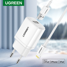 Ugreen carregador 5v2.1a usb, cabo usb, mfi, para iphone xs, max, xr, carregador de celular para iphone x, 8, 7 carregador de parede para celular ipad