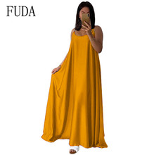 FUDA Gold Satin Loose Maxi Dress Women Long Sexy Spaghetti Strap Backless Red Green Party Night Club Silk Slip Dresses Vestidos