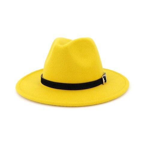 QIUBOSS Men Women Wide Brim Wool Felt Fedora Panama Hat with Belt Buckle Jazz Trilby Cap Party Formal Top Hat In White,black Karachi