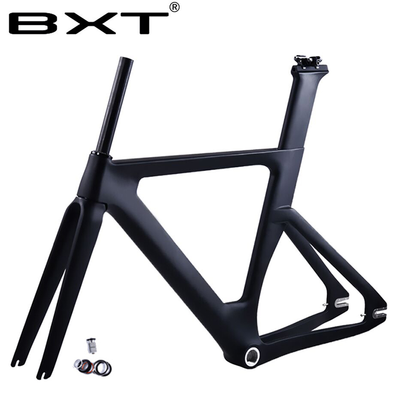 BXT 2020 New Full Carbon Track Frame With Fork Seatpost T800 Fixed Gear Carbon Track Bike Frame Set Used For Racing Bike Frame