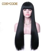 COSYCODE שחור פאה עם פוני 26 inch נשים פאות ארוך ישר שאינו תחרה סינטטי Cosplay תלבושות פאות