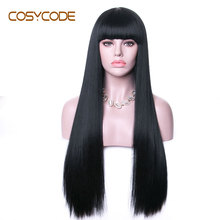 Cosycode Zwarte Pruik Met Pony 26 Inch Vrouwen Pruiken Lange Rechte Non Lace Synthetische Cosplay Kostuum Pruiken