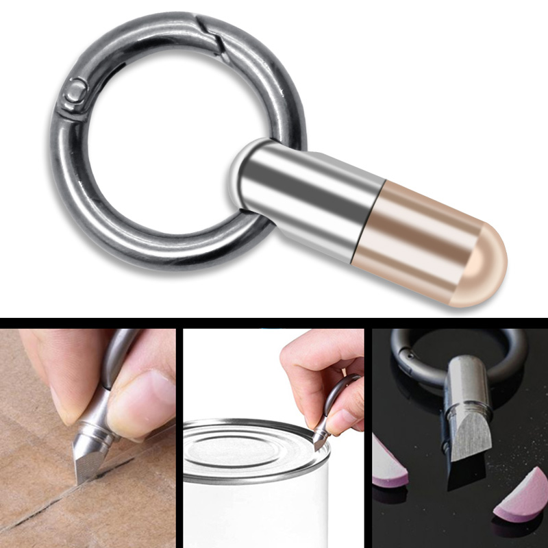 Stainless Steel Cutting Tool Multi-function EDC Portable Mini Tool Key Ring Pendant Tool Capsule Knife Tiny Cutting Tool