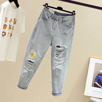 The S-5XL of 2020 New Straight High-Rise Ripped Jeans Loose Little Daisy Nine Dad Pants