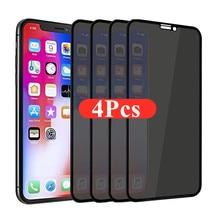 1-4 pces 30 graus protetores de tela de privacidade para iphone 12 11 pro max 12mini anti-spy vidro protetor para iphone xs xr x 7 plus