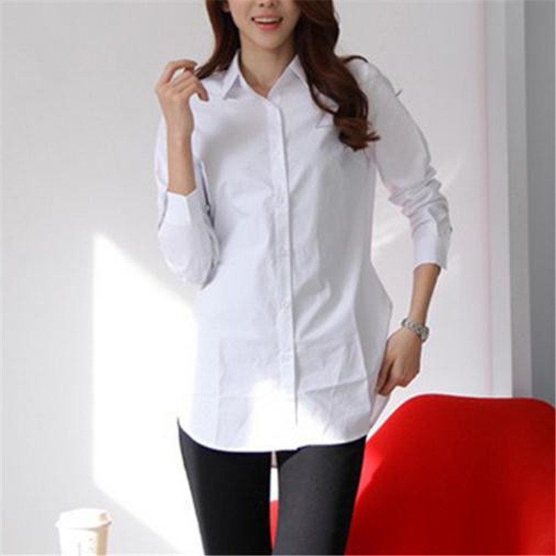 New Classical Women White Shirts Long Sleeves Buttons Slim Elegant Office Ladies Business Shirts Female Spring Summer Top Blouse image