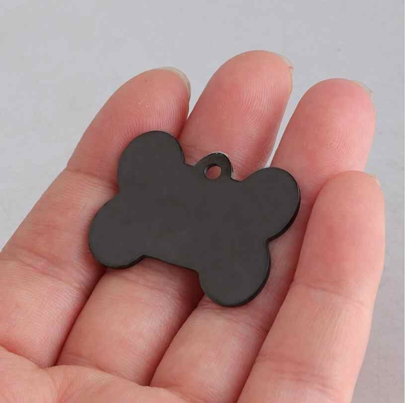 10pcs/Lot Black Color Bone Dog ID Personalized Pet Tags Charms Mirror Polish Stainless Steel DIY Blank Name Pendant 23*31mm