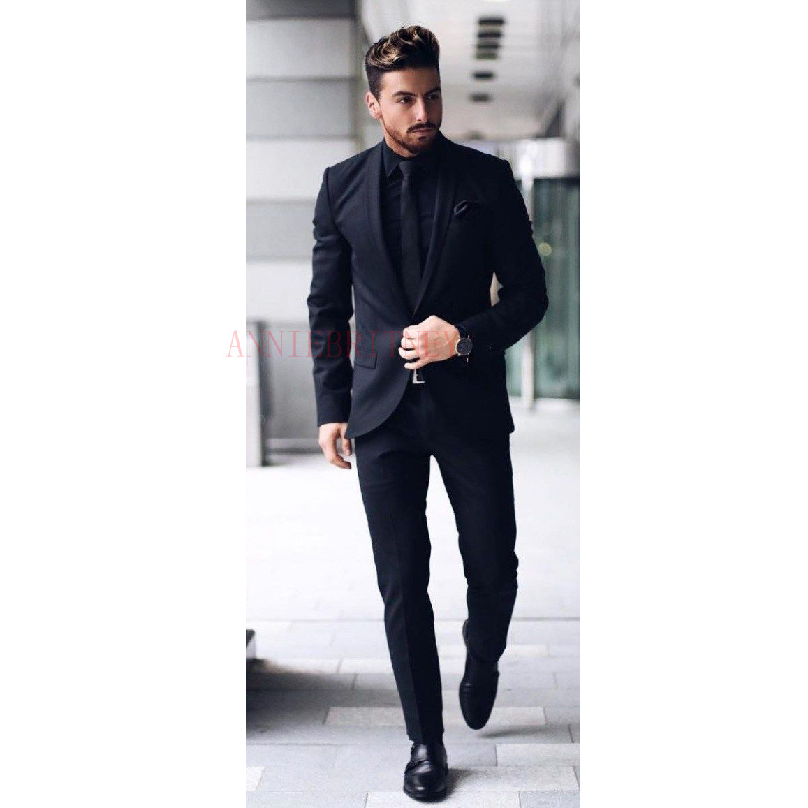 ANNIEBRITNEY Latest Coat Pant Designs Man Suit Custom Made Slim Fit Blazer With Pants Black Groom Wedding Tuxedo Mens Suits Set