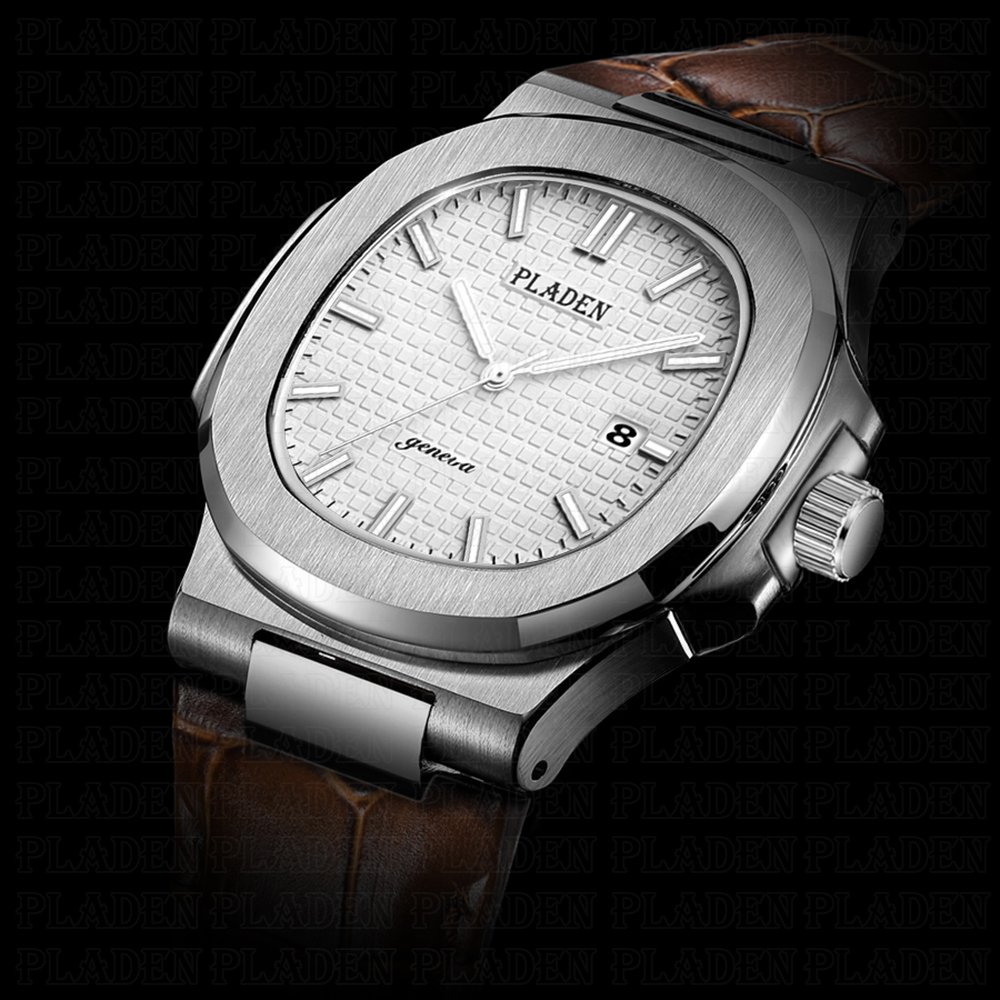 PLADEN мужские часы Aquanaut циферблат коричневый кожаный Женева часы мужские календарь водонепроницаемые Роскошные повседневные часы для