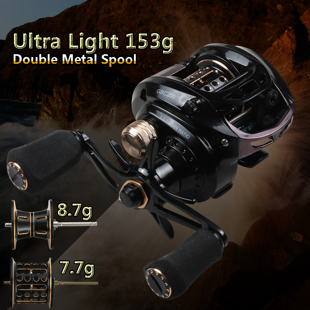 GBC200 155g UltraLight BFS Baitcasting Fishing Reel Left Right Hand Double Metal Spool Fishing Bait Casting Reel For UL Fishing