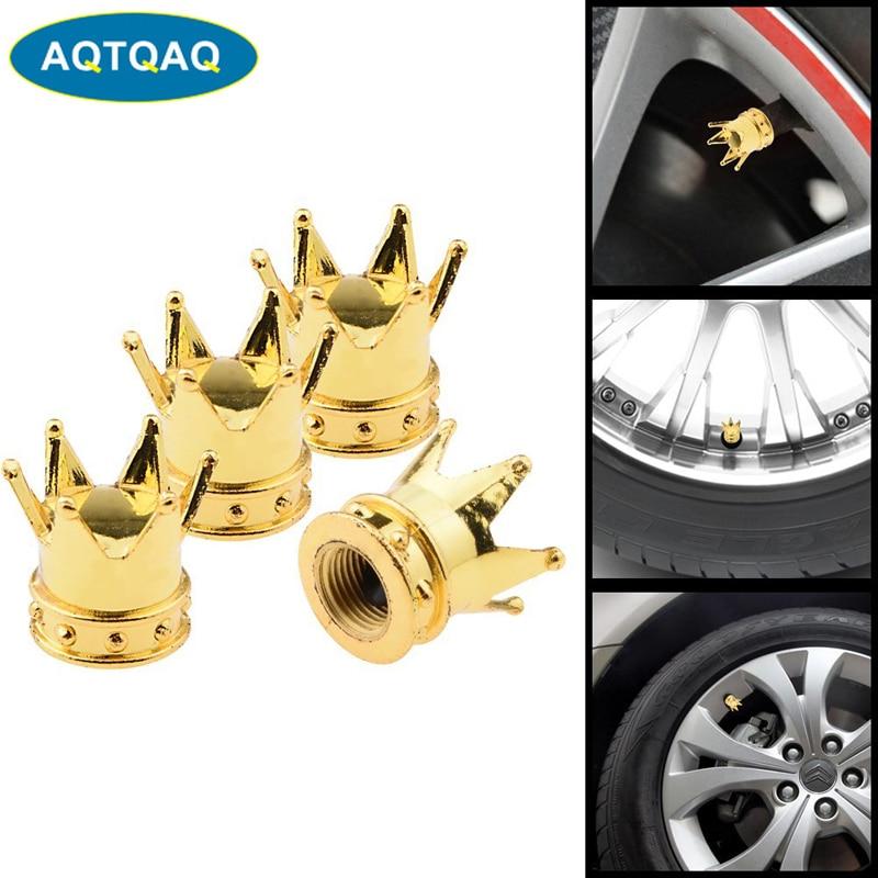 4Pcs White Crown Tire Wheel Stem Air Valve Caps Car Truck Hot Rod Motorcycle