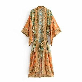 Fitshinling Print Floral Cotton Beach Kimono Belt Vintage Bohemian Slim Cover Up Swimwear Long Cardigan Sexy Flare Sleeve Covers