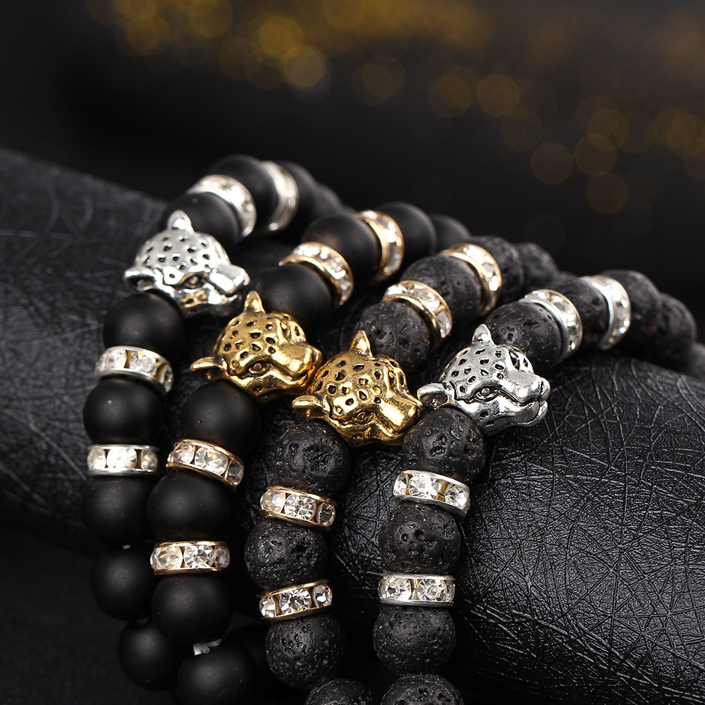 Fashion Men/'s Silver Lion HEAD Charm 8 mm Naturel Dragon Stone Beaded Bracelets