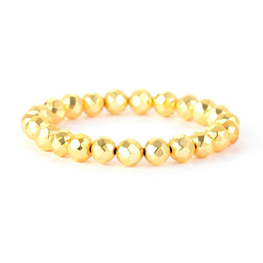 Kobiet 8MM koraliki bransoletki labradoryt złoty Tone bransoletka elastyczna joga Mala Stretch nici bransoletki nowy prezenty biżuteria