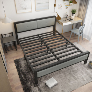 Metal Bed Frame 120x100x210CM Home Bedroom Modern Double Iron Simple Lunch Home Multifunctional Bed For Adult With Headboard