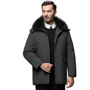 Winter White Duck Down Jacket Men Jacket Thick Coat Brand Fur Collar Doudoune Homme Casual Business Men's Long Coat