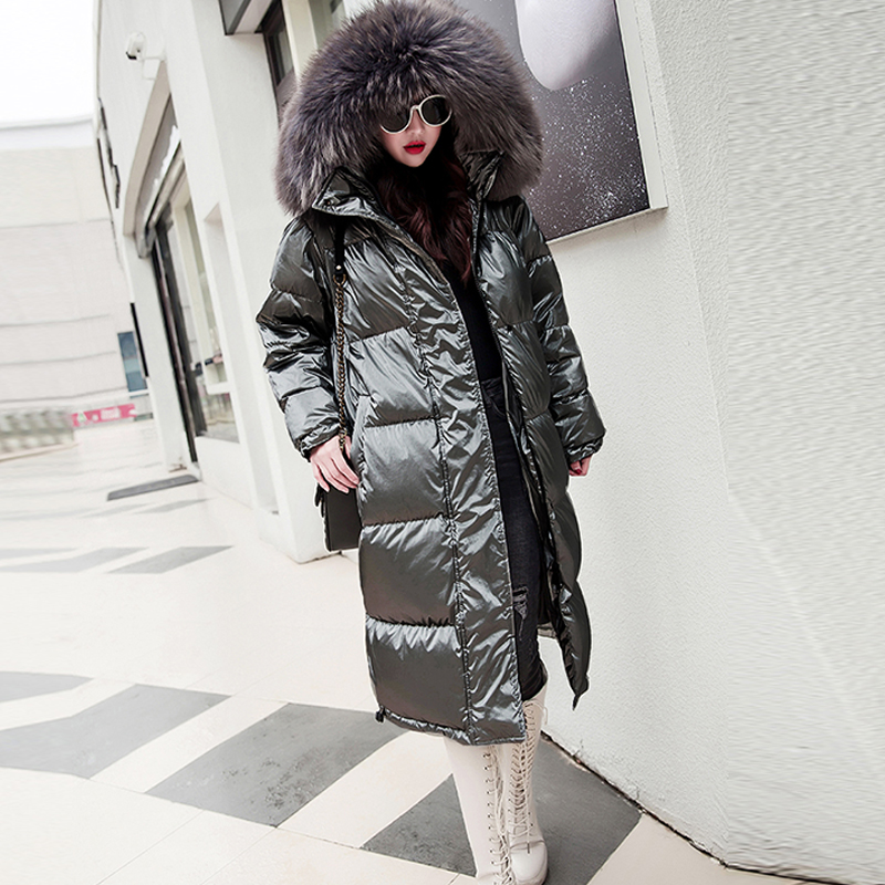 Fur Hooded Long Winter Down Jackets Women Solid Reflective Plus Size Parkas Streetwears Female Thicken Warm Duck Down Coats New