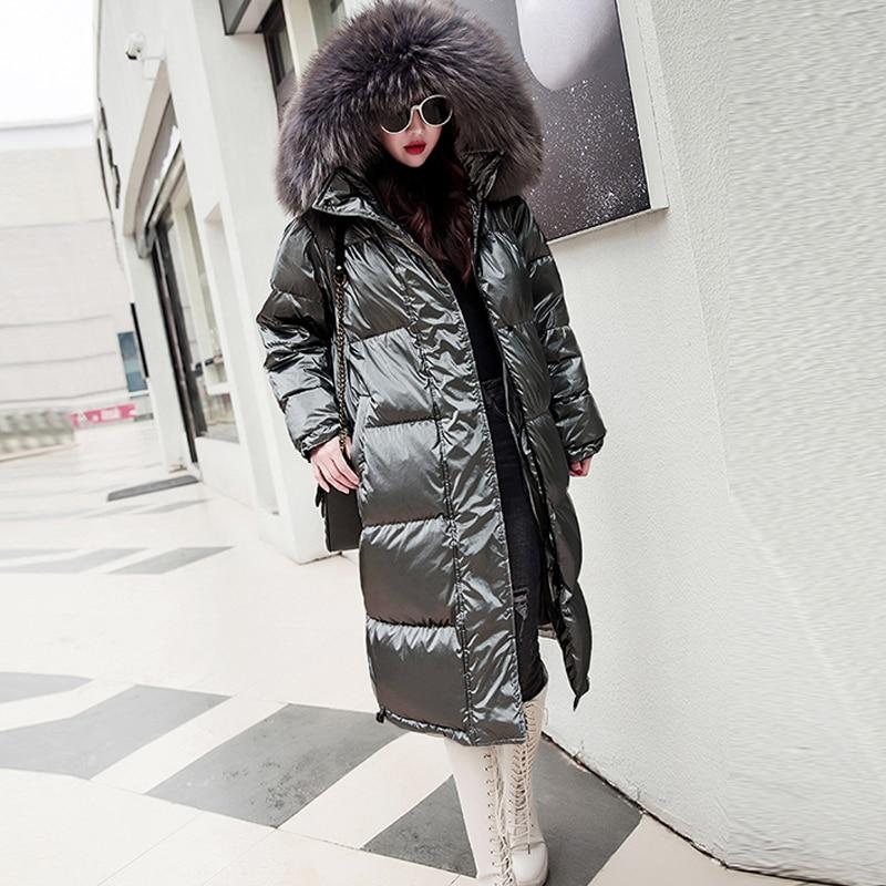 Fur Hooded Long Winter Down Jackets Women Solid Reflective Plus Size Parkas Streetwears Female Thicken Warm Duck Down Coats New