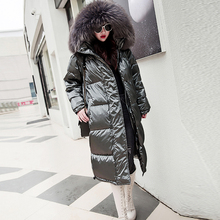 Fur Hooded Long Winter Down Jackets Women Solid Reflective P