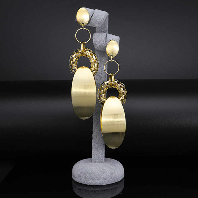 Fani דובאי זהב ארוך זרוק להתנדנד עגילים לנשים חתונה באיכות גיאומטרי Cucurbit מקדש ברזילאי זרוק להתנדנד עגילים