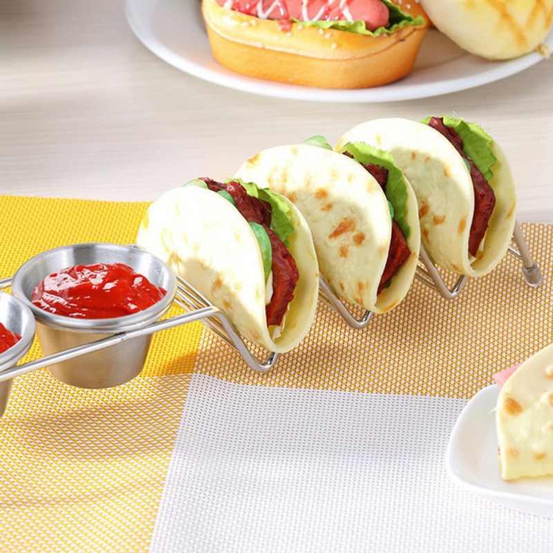 Paslanmaz çelik Taco tutucular raf meksika gıda standı tutucu kupası dalga şekli mutfak aracı restoran gıda vitrin rafı
