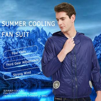 Summer thin men's outdoor high temperature welding cooling fan air conditioning clothes refrigeration clothing charging