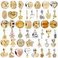 45 стилей Изящный Европейский Золотой цветок замок Корона зажим бусины подходят Pandora браслет ожерелье для женщин аксессуары Изготовление