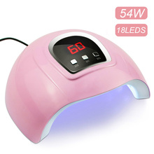 54W Pink UV LED Nail Lamp Curing ALL Gel Polish UV Lamp for Manicure Pecicure  With LCD Display Nail Dryer Nail Art USB Lamp недорого