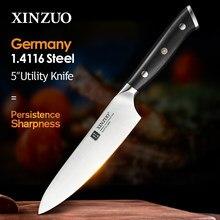 XINZUO-cuchillo de cocina de acero inoxidable alemán 1,4116, herramienta de pelado con mango de ébano, para carne y verduras, 5 pulgadas, novedad