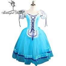 בנות כחול ג יזל בלט שמלות ורוד רומנטי בלט תלבושות חום פאף שרוול מקצועי בלט tutusBT8904