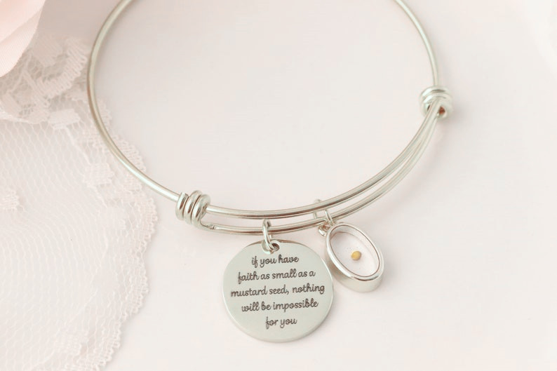 Mustard Seed Charm Bracelet Religious Heart Jewelry Faith Silver Adjustable Bangle Fits All Encouragement Bible Parable