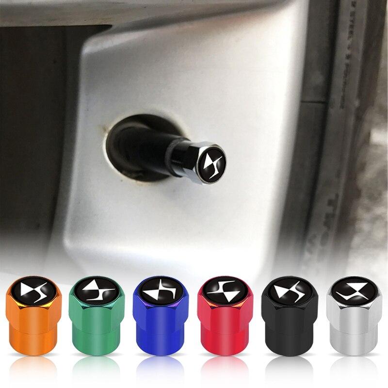 Car Styling 4Pcs/Lot DS Emblem Car Wheel Tires Valves Tyre Stem Air Caps For Citroen C1 C2 C3 C4 C5 C6 DS DS3 DS4 DS5 DS5LS DS6