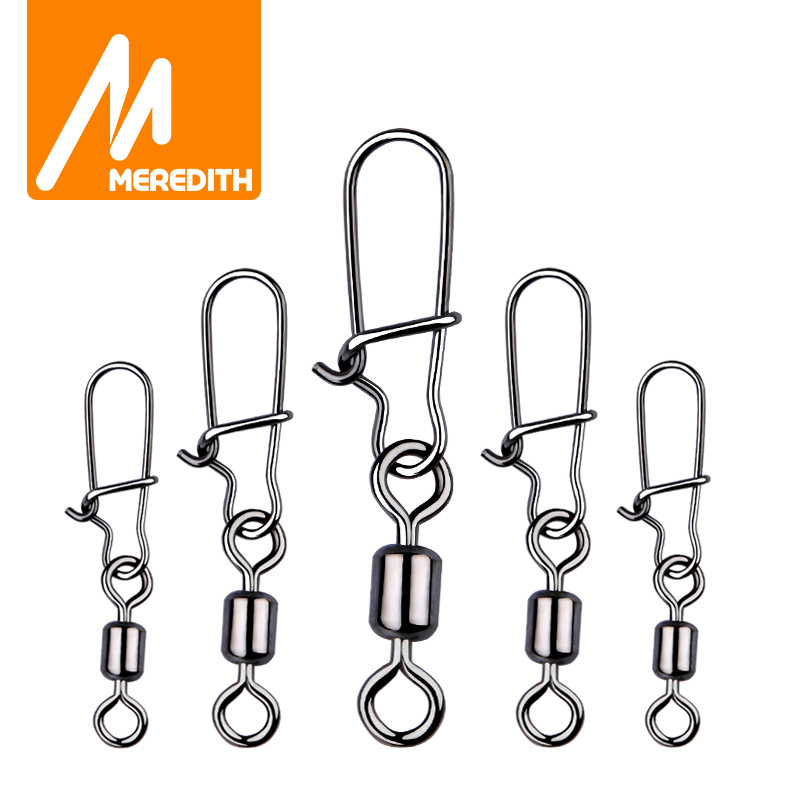 Fishing MEREDITH 50PCS pike fishing accessories Connector Pin Bearing Rolling Swivel Stainless Steel Snap Fishhook Lure Swivels Tackle