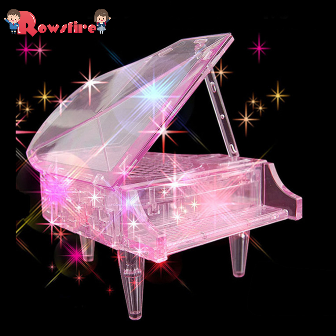 Rowsfire 3D Crystal Piano Puzzle Jigsaw Creative Gift With Pink Glitter For Children Braining Playing Kits