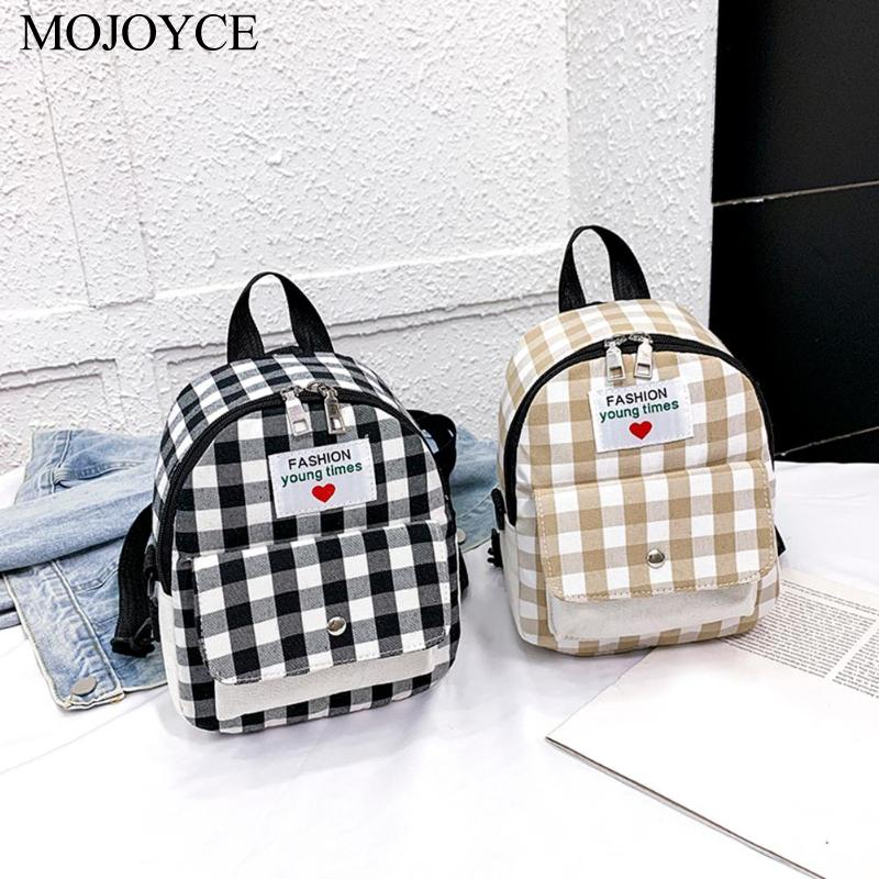 New Fashion Backpack Women Leisure School Bags Korean Ladies Knapsack Casual Travel Girls Canvas Rucksack Lattice Small Mochila