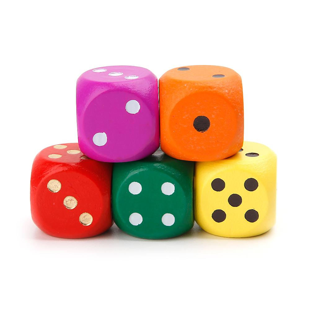 5pcs 16mm Wood Dice Number Round Corner Hexahedron For Family Party DND Kid Toys