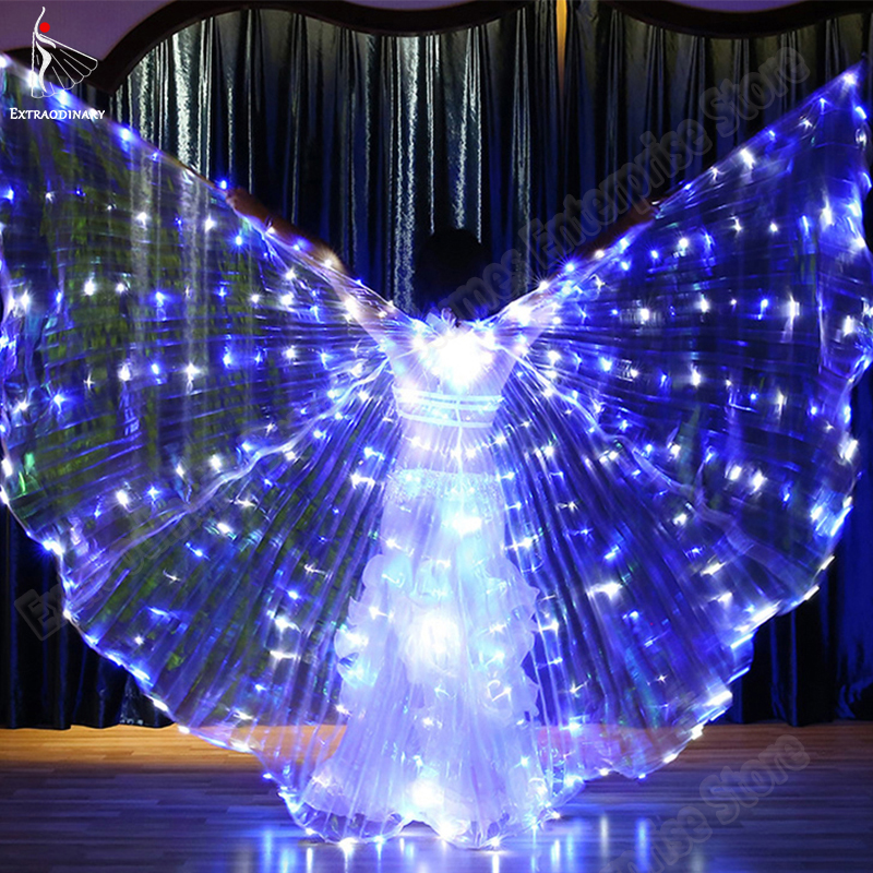 Wings Sticks Led Isis With Adjustable Belly Dance Lamp Performance Prop Light Up 360 Degrees Open Angle LED Wing Accessories
