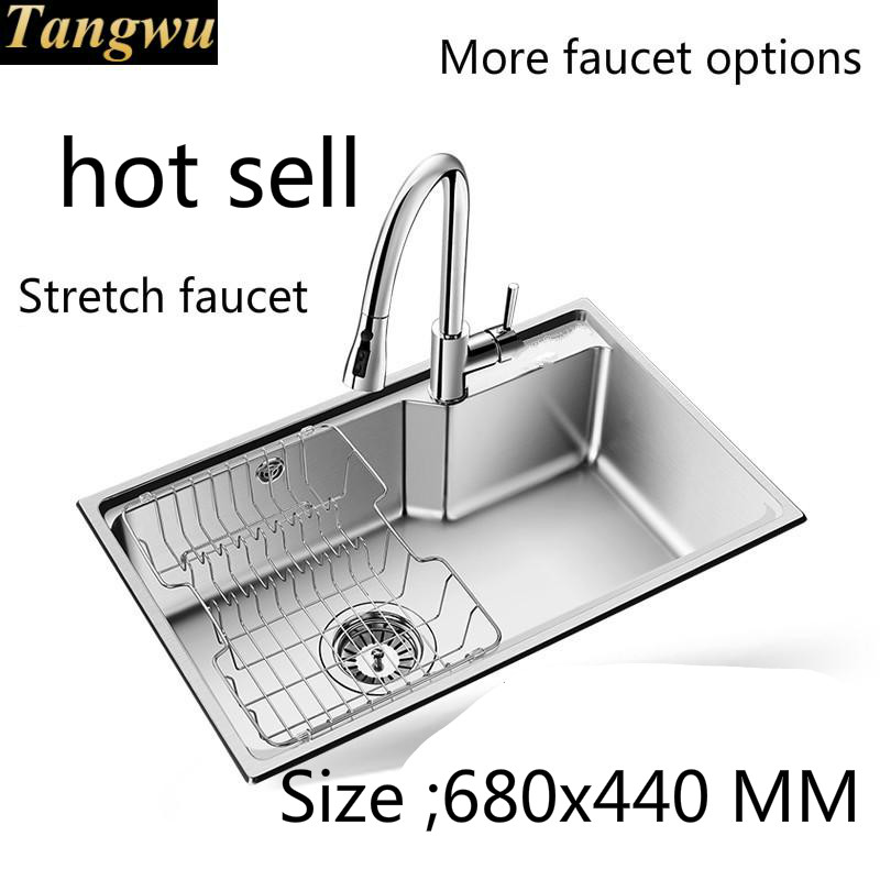 Free Shipping Standard Food Grade  Durable 304 Stainless Steel Kitchen Tank Sink Single Slot Hot Sell  680x440 MM