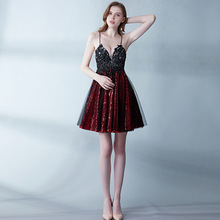 New Wine Red Mini Prom Gown Dresses Sexy 2019 Backless Lace Gala Elegant Vestidos De Vestido Formatura