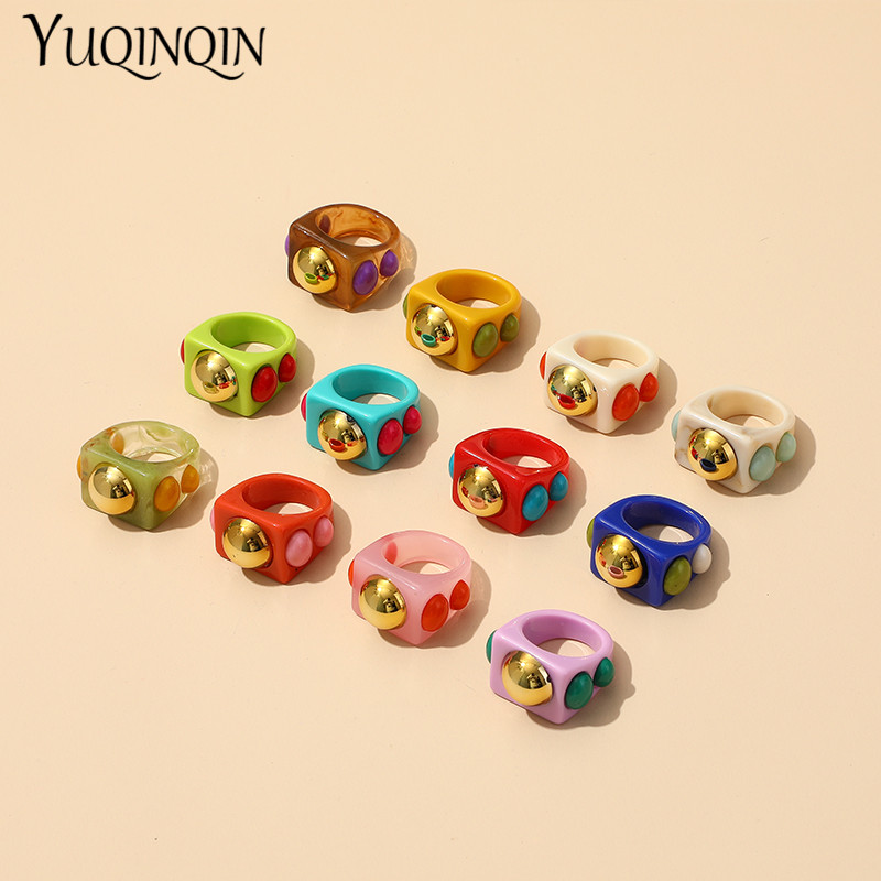 Многоцветный в минималистском стиле панк кольца для девочек-подростков, винтажными аксессуарами в Корейском стиле элегантные женские вече...